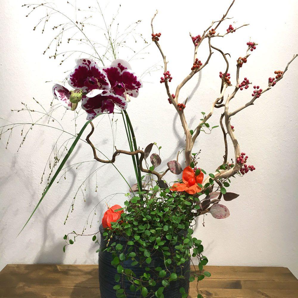 Composizione con  un ramo di orchidea